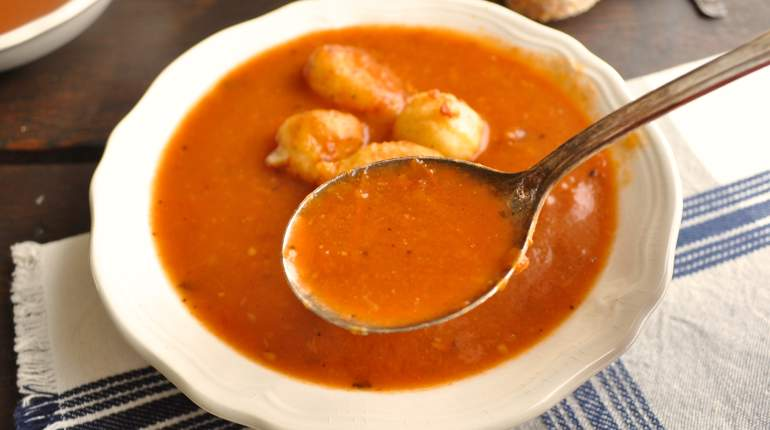 Tomato Soup With Fried Cheese Curds