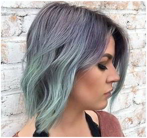 Pixie Sea-Green and Lavender Sweep hair